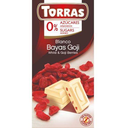 Czekolada biała z jagodami goji bez cukru, bezglutenowa 75g Torras, 8410342006325