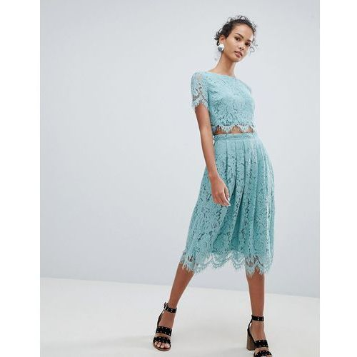 lace co-ord midi skirt - green, New look