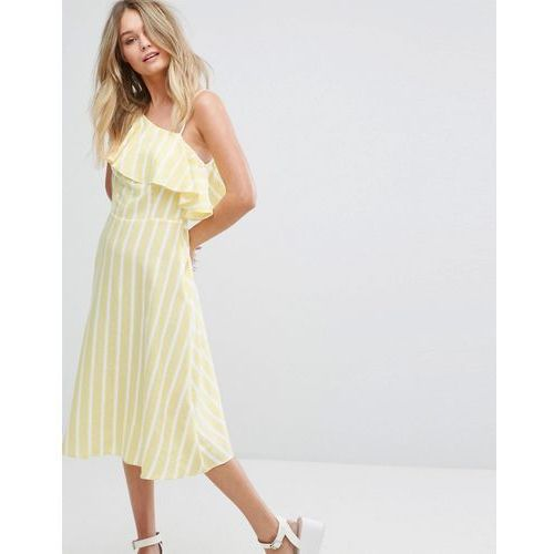 New Look One Shoulder Frill Sleeve Midi Dress - Yellow