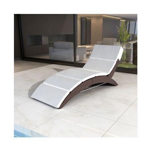 Luksusowy, odkryty, składany leżak rattanowy do ogrodu, brązowy - produkt dostępny w VidaXL
