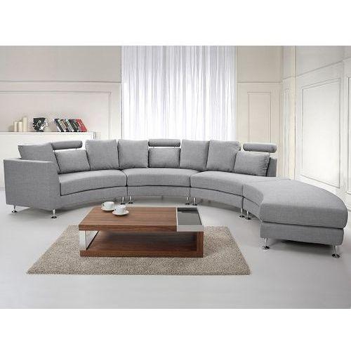 Pólokragla sofa tapicerowana - jasnoszara - tkanina obiciowa - ROTUNDE, Beliani