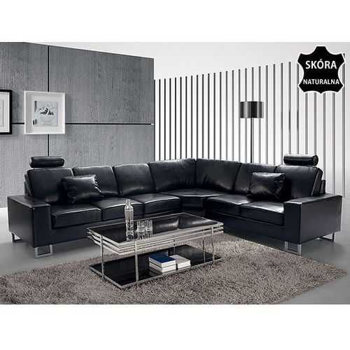 Stylowa sofa kanapa z czarnej skóry naturalnej naroznik STOCKHOLM, Beliani