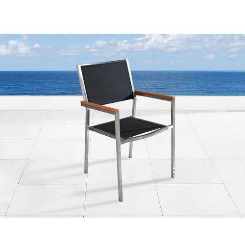 Krzeslo ogrodowe - stal niezdzewna - siedzisko tekstylne GROSSETO ze sklepu BELIANI.PL