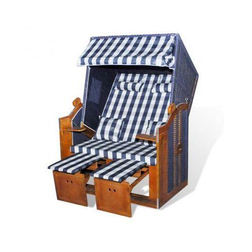 Leżak plażowy, fotel składany, niebiesko biała krata, niebieski rattan - produkt dostępny w VidaXL