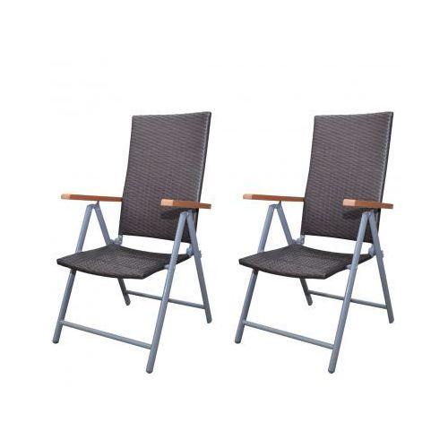 Krzesła ogrodowe, rattan+aluminiowa rama x2, produkt marki vidaXL