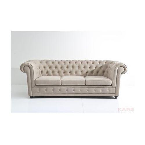 Sofa Oxford 3 Osobowa Beżowa Tkanina 220x76x92cm - 78511