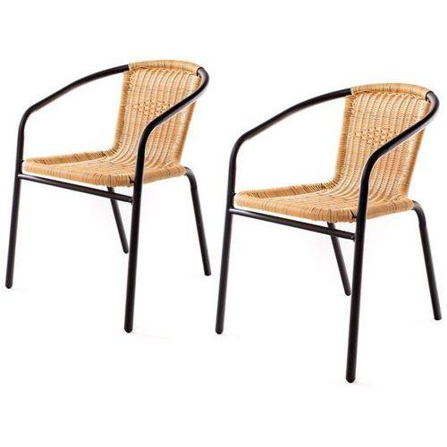 Produkt Happy Green Stalowe krzesła PE RATAN - 2szt