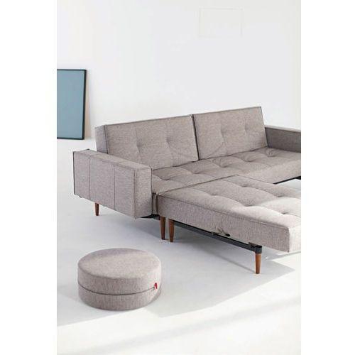 Istyle Splitback Podłokietniki Sofa Rozkładana, szara MIXED tkanina 521, nogi do wybory - 741010521-pod