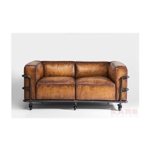 Quattro Sofa 2 Osobowa Brązowa Skóra Naturalna Żelazo 169 cm - 79529, Kare Design
