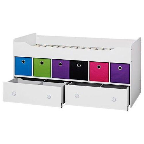 COMBEE łóżko zestaw z szufladami i kolorowymi pudełkami ze sklepu Meble Pumo