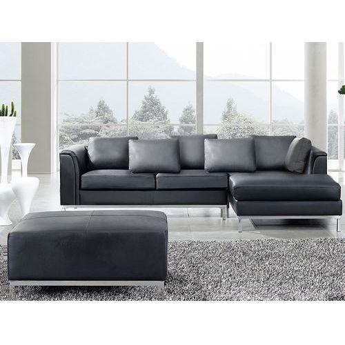 Nowoczesna sofa z pufa ze skóry naturalnej kolor czarny - kanapa OSLO, Beliani