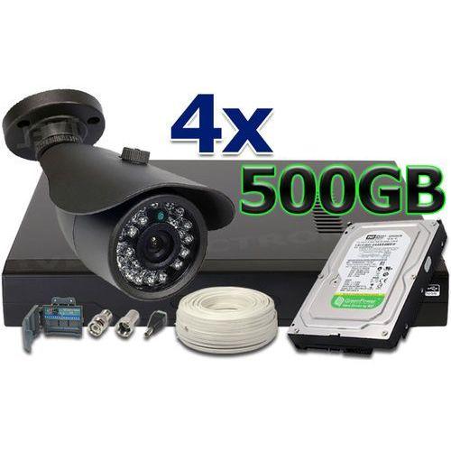 Zestaw do monitoringu: Rejestrator 4 kanałowy , 4 x Kamera LV-N900IR20TF, Dysk 500GB, Akcesoria