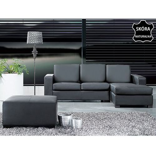 Skórzana sofa naroznik pufa czarna MALMÖ, Beliani