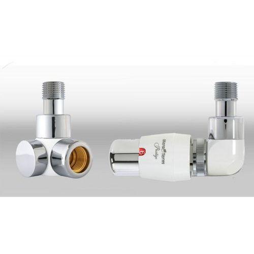 Zestaw instalacyjny lux 3 do grzejnika łazienkowego wersja osiowa prawa biała chrom wyprodukowany przez Vari