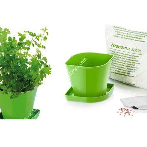 Zioła w kuchni - zestaw donica z podstawką, ziemia oraz nasiona kolendry - kwadratowe, produkt marki Tescoma