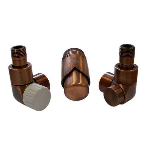 Instal-projekt Grzejnik  603700081 zestawy łazienkowe lux gz ½ x złączka 15x1 stal osiowo lewy antyczna miedź, kategoria: pozostałe ogrzewanie