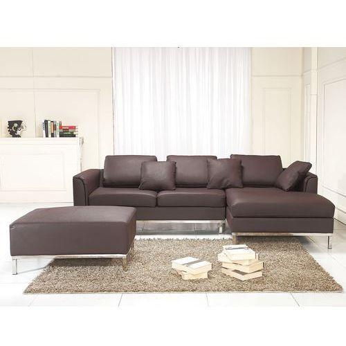 Nowoczesna sofa wraz z pufa ze skóry naturalnej braz OSLO, Beliani