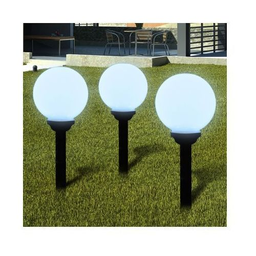 Ogrodowe lampy solarne LED 20cm, 3szt z uziemieniem Spike, vidaXL