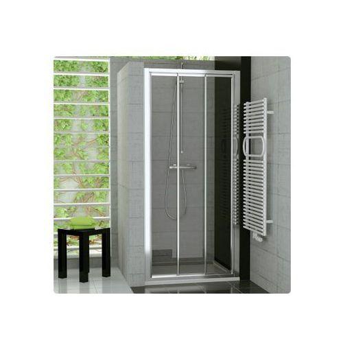 Ronal Top-Line Drzwi prysznicowe trzyczęściowe - 90/190cm srebrny matowy Szkło przezroczyste TOPS309000107