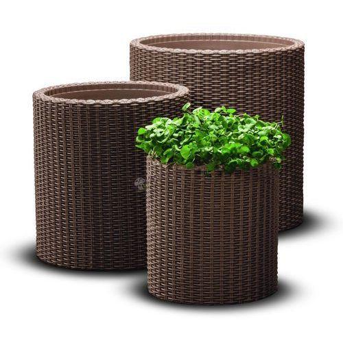 Zestaw doniczek cylindrycznych w 3 rozmiarach - Brązowy, produkt marki Keter