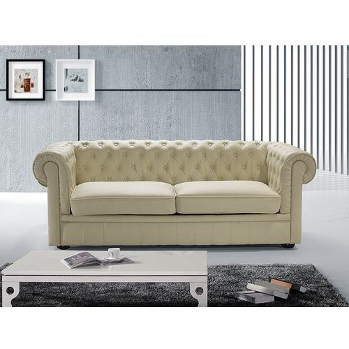 Sofa kanapa skórzana bezowa klasyka dom biuro CHESTERFIELD, Beliani