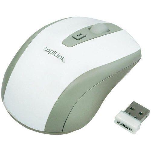 LogiLink Mysz optyczna  ID0030, bezprzewodowa, radiowa, 1600 dpi, biała, 3 przyciski z kat. myszy, trackballe i wskaźniki