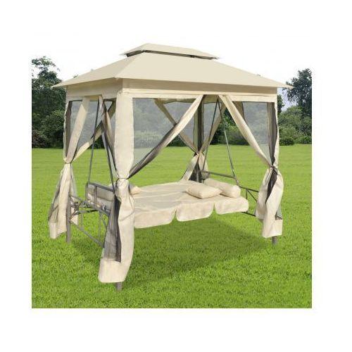 Luksusowy leżak z zadaszeniem do użytku na zewnątrz kremowo biały, vidaXL