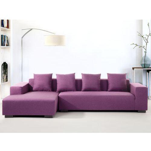 Sofa fioletowa - sofa narozna P - tapicerowana - LUNGO, Beliani