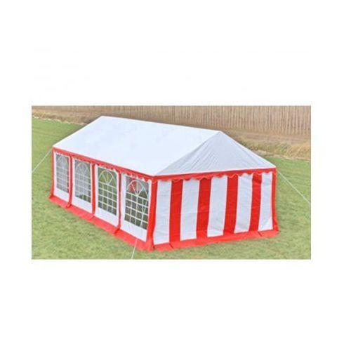 Pawilon ogrodowy 8x4m (dach+penele boczne), czerwono-biały, produkt marki vidaXL