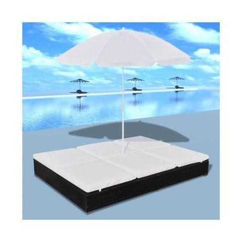 Luksusowe łóżko rattanowe, czarne, leżak dwuosobowy z parasolem - produkt dostępny w VidaXL
