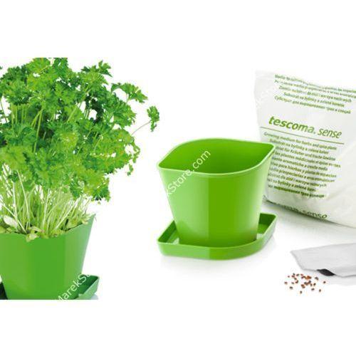 Zioła w kuchni - zestaw donica z podstawką, ziemia oraz nasiona pietruszki - kwadratowe, produkt marki Tescoma