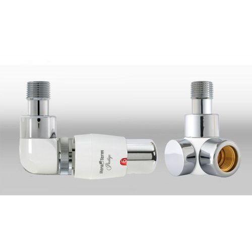 Zestaw instalacyjny lux 3 do grzejnika łazienkowego wersja osiowa lewa biała chrom wyprodukowany przez Vario