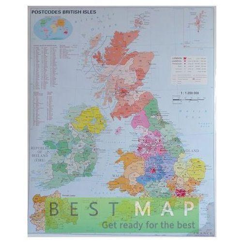 Wyspy Brytyjskie. Mapa ścienna kodów pocztowych w ramie 1:1,2 mln wyd. Stiefel, produkt marki Stiefel Eurocart