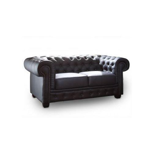 Sofa 2-osobowa CHESTERFIELD skóra czarna