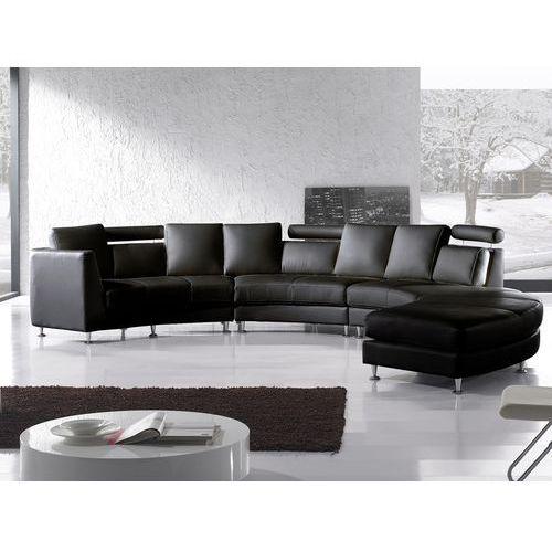 Pólokragla sofa skórzana czarna - 8 miejsc siedzacych ROTUNDE, Beliani