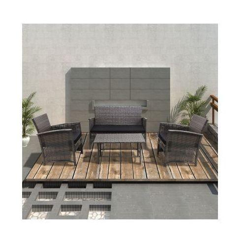 Rattanowe meble ogrodowe, szare, zestaw składa się z 4 elementów, produkt marki vidaXL