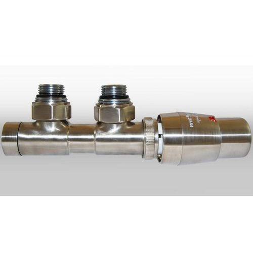 Zestaw twins 3/4x3/4 kątowy prawy nikiel szlifowany + nypel 2szt. 1/2 x 3/4 wyprodukowany przez Varioterm