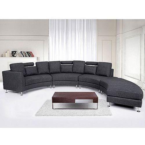 Pólokragla sofa tapicerowana - kanapa szara - tkanina obiciowa - ROTUNDE, Beliani