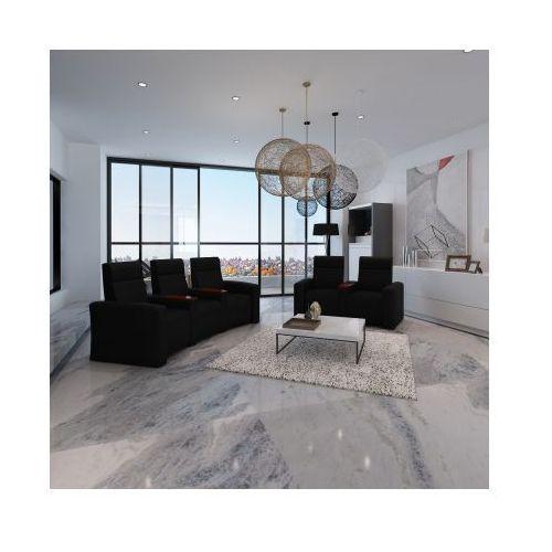 Domowy fotel kinowy i sofa 3+2 z drewnianymi elementami Czarny, vidaXL