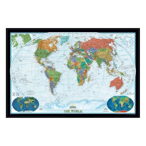 Świat. Mapa ścienna polityczna Decorator magnetyczna w ramie 1:22,5 mln wyd. , produkt marki National Geographic