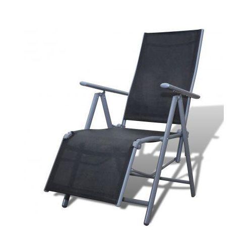 Leżak, aluminiowa rama i czarna tekstylina - produkt dostępny w VidaXL