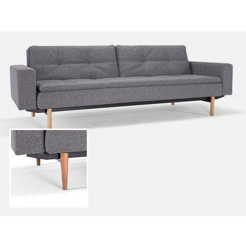 Sofa Dublexo z podłokietnikami szara 563 nogi jasne drewno  741050020563-741010020-1-6, INNOVATION iStyle