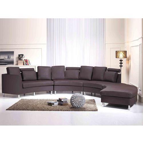 Pólokragla skórzana sofa kanapa brazowa 8 miejsc siedzacych ROTUNDE, Beliani