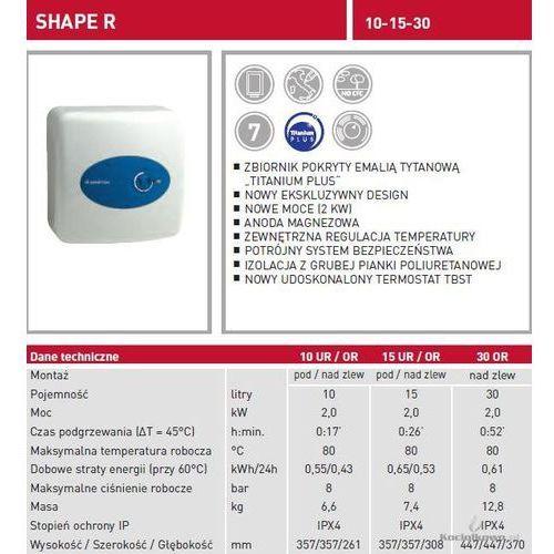 Produkt  TI SHAPE SMALL 10 OR, nadumywalkowy elektryczny pojemnościowy podgrzewacz wody, 10 l [877125], marki Ariston