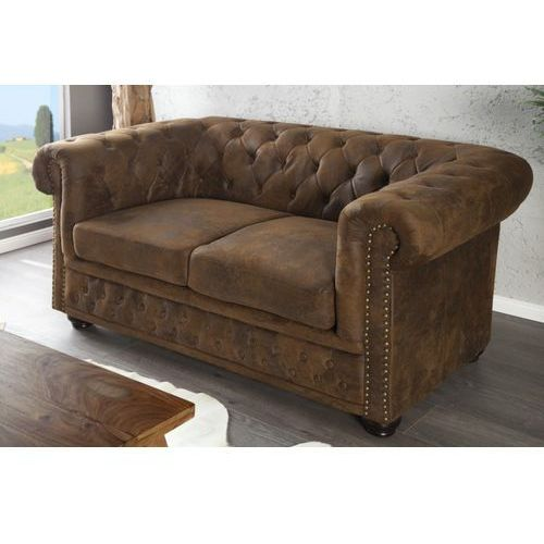 I & I I & I Chesterfield Sofa 2 Osobowa Brązowa Vintage Tkanina (S054ANBR/AH1-1)