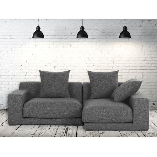 Sofa narozna L - tapicerowana - grafit - CLOUD, Beliani