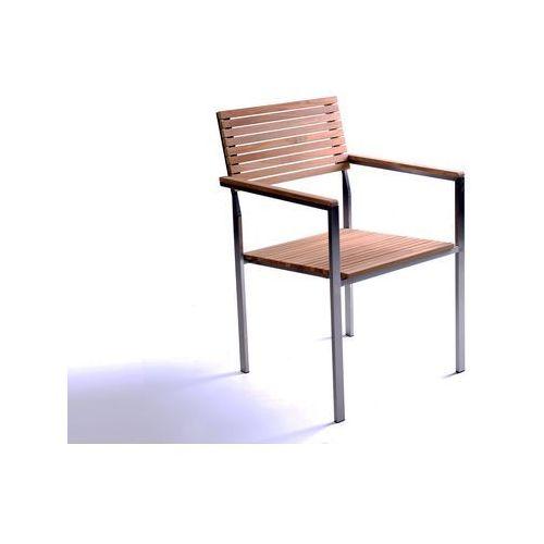 Krzeslo ogrodowe - stal nierdzewna - drewno tekowe - VIAREGGIO ze sklepu BELIANI.PL