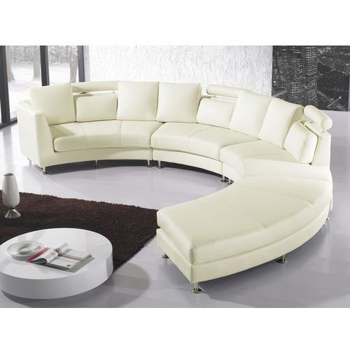 Sofa skórzana jasny bez, pólokragla - ROTUNDE, Beliani