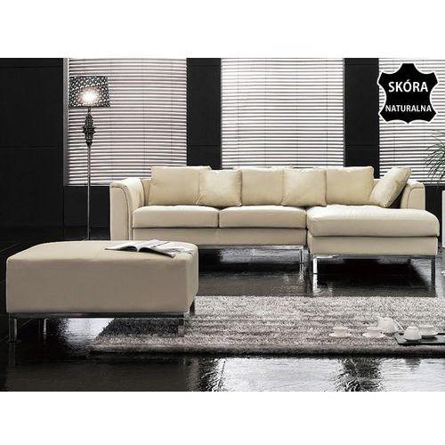 Nowoczesna sofa z pufa ze skóry naturalnej kolor bezowy - kanapa OSLO, Beliani