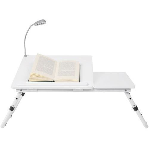 Bookworm Biały Stolik, Biały Lakier Matowy z Lampką 60x35 cm - 74373